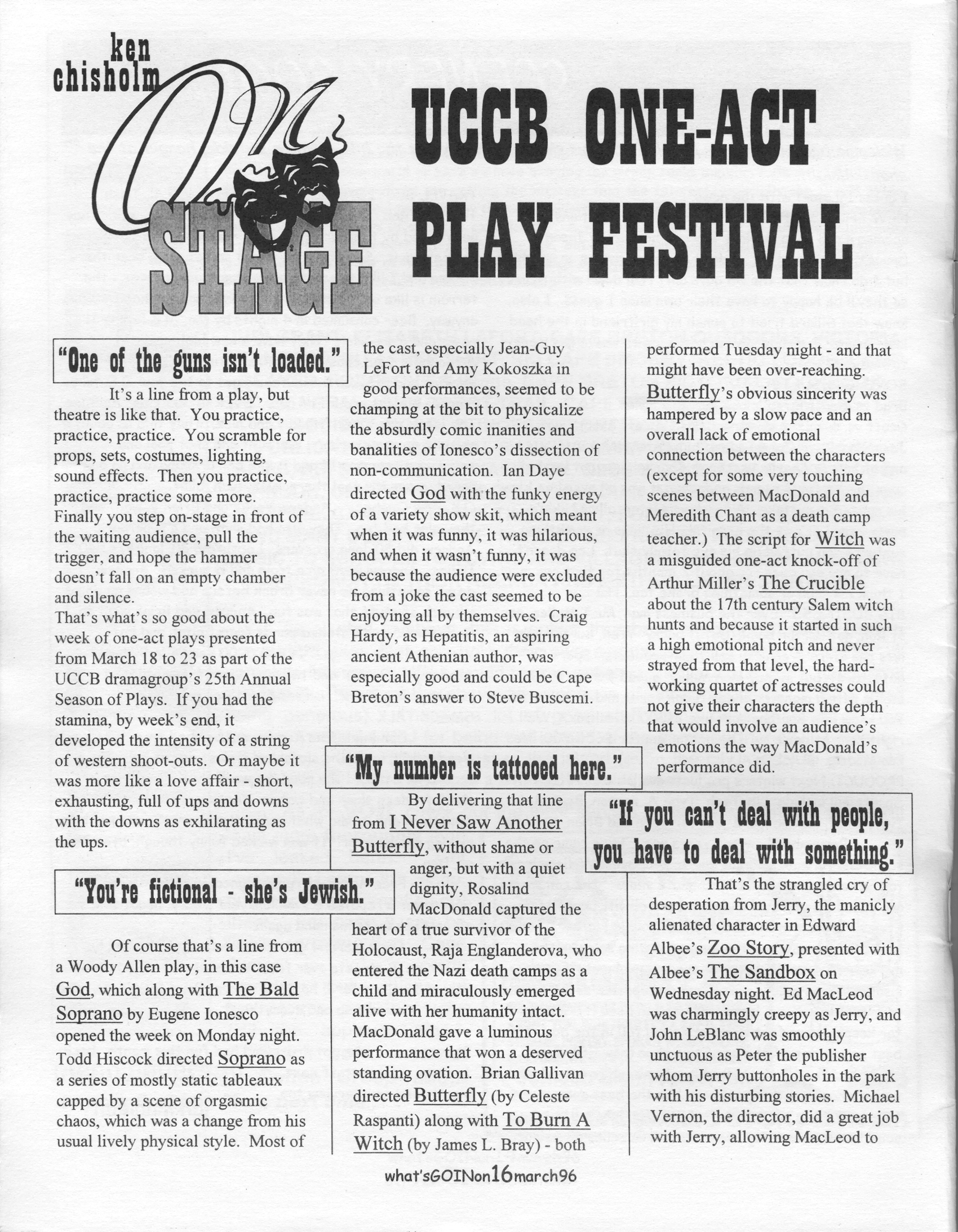 ON STAGE – March 1996: UCCB One-Act Play Festival