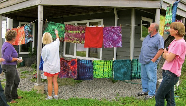 Dyed Fabric Hangs Outdoors