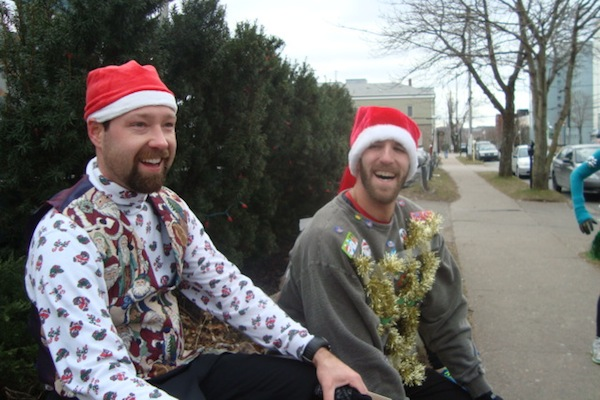 Second and first place finishers of last year's Ugly Sweater run for the men's division, from left, Herbie Sakalauskas and Joey Tetford of the Sydney area