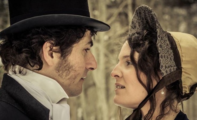 (Ron Newcombe and Jenn Tubrett star in the CBU Boardmore Theatre's upcoming production of Pride and Prejudice - photo: Ashley Harding Photography)