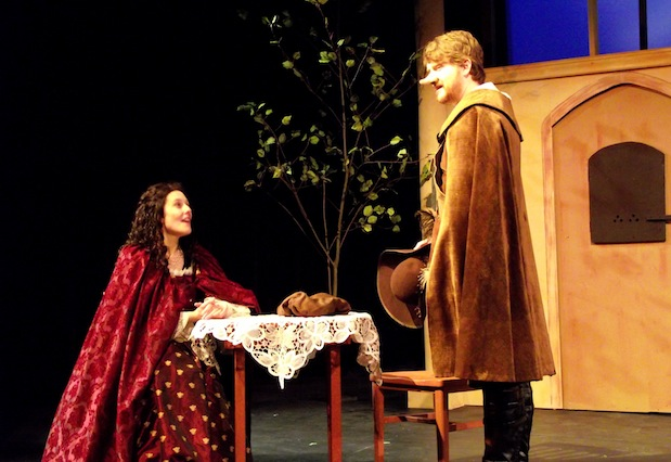 (Jenna Lahey and Mark Delaney star as Roxanne and Cyrano in CBU Boardmore Theatre's new production of Cyrano de Bergerac - photo: CBU)