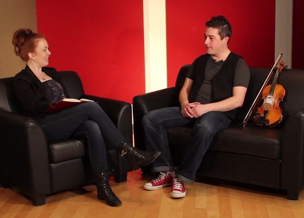(Dawn Beaton and Colin Grant on the set of Celtic Colours' new bi-weekly podcast Suas E!)