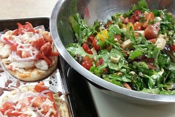 Butter chicken pizza on naan bread and a watermelon and mozzarella salad, prepared by Chef Janice MacKay on the final week of Sobeys Dietitian Natasha Harrietha's popular 8 Week Healthy Weight program – photo: Janice MacKay