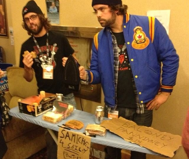 "Inverness County all stars The Town Heroes selling ""samiches"" at Molson Canadian Nova Scotia Music Week 2013 in Sydney. Don't miss all the fun this year in Truro. Get yourself nominated today - photo: Sharypic"
