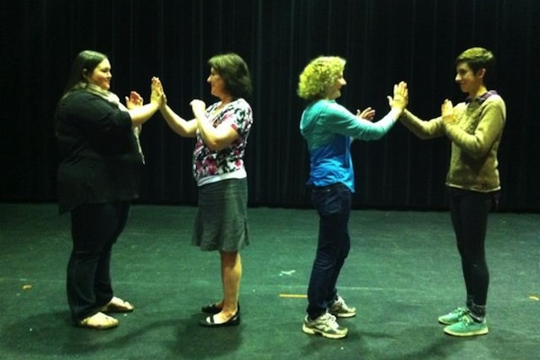 Stephanie McCormick, Karen DeAdder, Josie Sobol and Kate MacMullin rehearsing for Voices of Change - photo: Nicole MacDougall