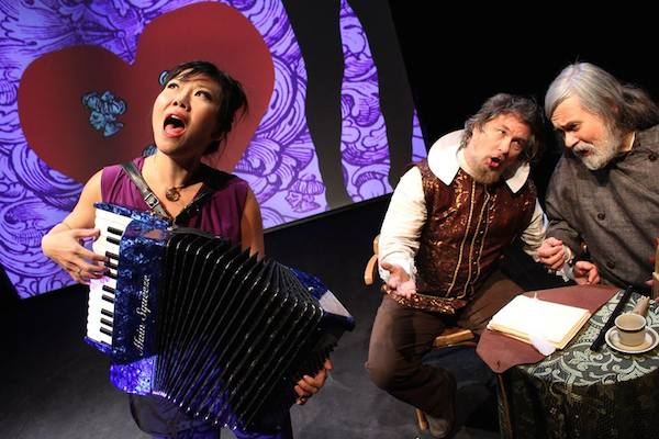 """Susan Hwang, Bob Holman, and Julian Kytasty in Yara Arts Group's """"Captain John Smith Goes to Ukraine"""". Staged in association with Celtic Colours International Festival, the play opens CBU Boardmore Theatre's 44th Season of Plays - photo: Virlana Tkacz"""
