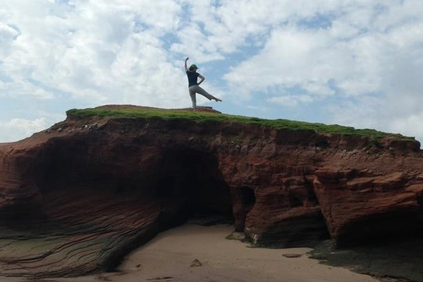 Yvette Rogers strikes a pose in the Magdalene Islands - photo: Angela Rudderham