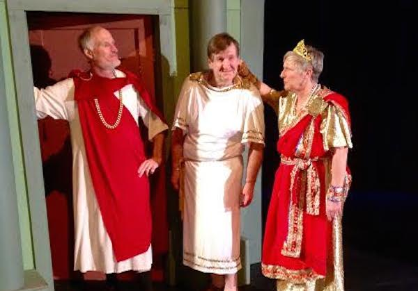 Cameron MacDonald (Lycus), Ian Green (Senex), and Carol MacDougall (Domina) prepare for Tuesday's opening of CBU Boardmore Theatre's production of A Funny Thing Happened on the way to the Forum.