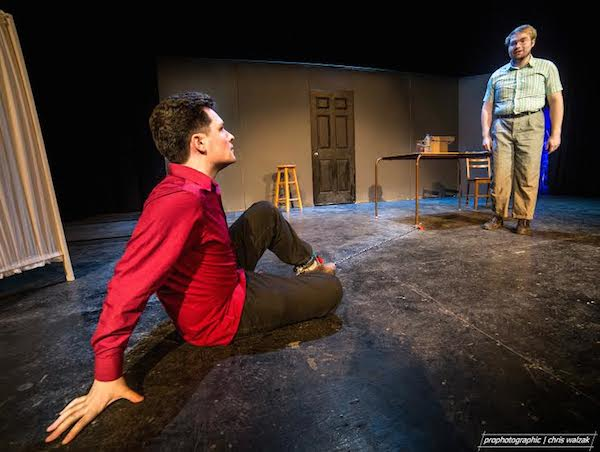Pat Wallace, the Funniest Man Alive {Nicholas Porteous) and Duncan, The Most Pathetic Man Ever (Wesley J. Colford) in the Highland Art Theatre's production of Punch Up, on stage until Sunday - photo: Chris Walzak