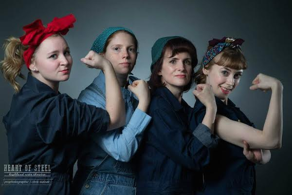 From left to right: Margaret MacPherson, Kristine Woodford, Maureen MacAdam, and Hilary Scott show what it takes to work in the Sydney Steel Plant during wartime in the Highland Arts Theatre production of 'Heart Of Steel' running nightly at 7:30 pm until Friday, March 27. - photo Chris Walzak