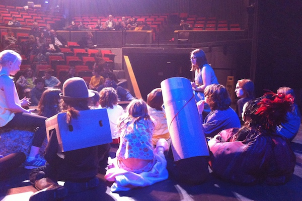 Erin Thompson adjudicating plays from Tuesday night with the 9-10 year old classes of Class Acts Drama School. The Boardmore Youth Theatre Festival continues all week - photo: James F.W. Thompson