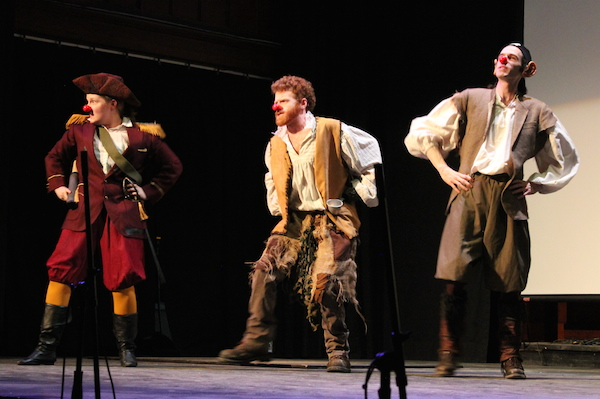 "Amber Cragg, Paul Bishop, and Eric Letcher as the bumbling, bellicose buccaneers of the Shark de Triomphe in the Boardmore Playhouse's production of Emil Sher's children's comedy, ""Bluenose""."