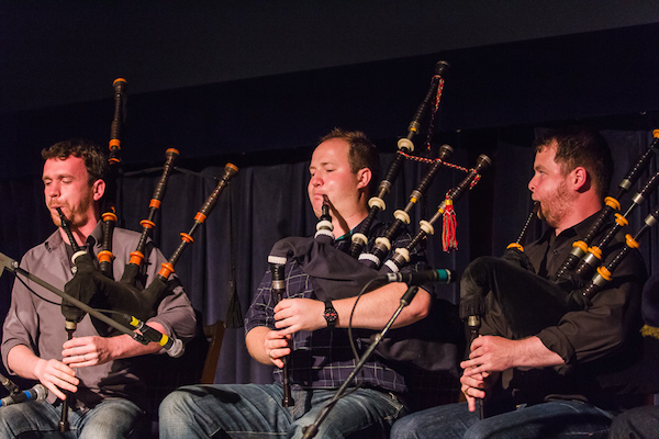 Nuallan, featuring pipers Kenneth MacKenzie, Kevin Dugas, and Keith MacDonald, will release their debut album during Kitchenfest! this year - photo: Gaelic College