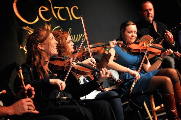 Dawn and Margie Beaton, Rachel Davis and Buddy MacDonald on stage at Celtic Colours' late night Festival Club - photo: Neil Gascoyne
