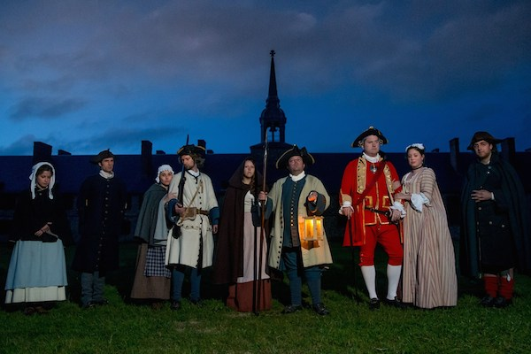 "The cast of Eric Letcher's ""The Condemned"" (playing Thursdays at the Fortress of Louisbourg National Historic Site) before the murderous mayhem begins in deadly earnest. From left to right: Liz Kyte, Eric Letcher, Jenna Lahey, Rory Andrews, Lindsay Thompson, Aaron Corbett Mark Delaney, Kathleen O'Toole and Joel LeFort - photo: Chris Walzak"