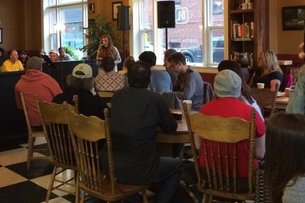 The first Write Out Loud this past July brought out a capacity crowd to Dr. Luke's Coffeehouse. Organizers hope to get the same response for their second event on Tuesday, August 25, at the same venue. (Image courtesy Sarah Blanchard)