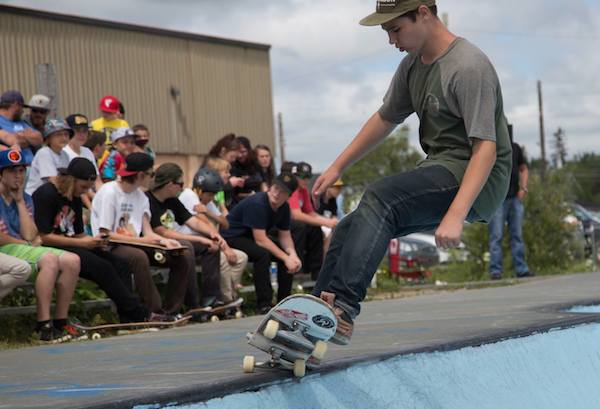 CBRM Skateboard Program instructor Leo O'Donnell at the Ollie Around Pool Party, earlier this month at Island Skatepark - photo: Harry Doyle