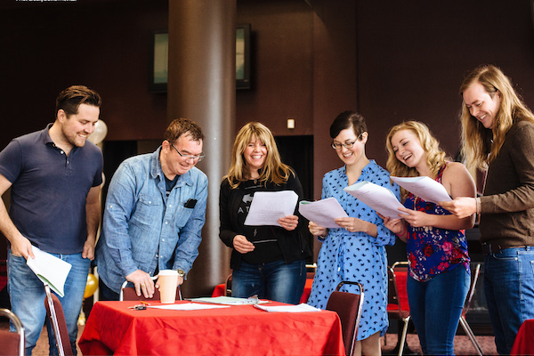 Cast of the Cape Breton Summertime Revue: The Next Generation have a laugh going through this year's script. Left to right: Peter McInnis, Maynard Morrison, Jennifer Sheppard, Stephanie Hennessey, Margaret MacPherson and Jordan Musycsyn - photo: David McIvor