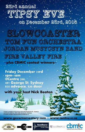 Friday, December 23 | Tipsy Eve: Slowcoaster / Tom Fun Orchestra / Jordan Musycsyn Band / Fire Valley Fire - Centre 200 - Sydney