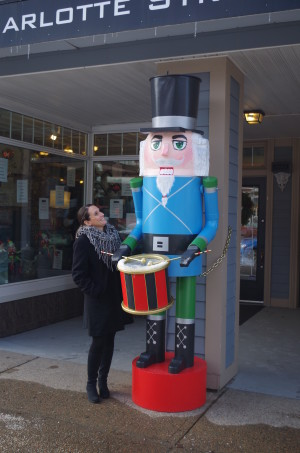 Gerard the Nutcracker with Michelle Wilson, Executive Director of Sydney Waterfront District
