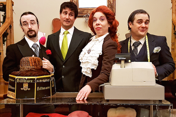 Matthew Earhart, Ron Newcombe, Angela Duhamel and Colin Appleton star in the Savoy's latest dinner theatre--Are You Being Served, Cape Breton?--running during February. The Savoy Theatre celebrates its 90th year in 2017.