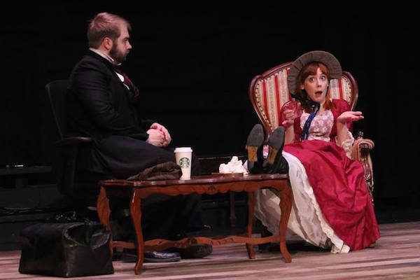 "Wesley J. Colford, as ""Dr. Watson"", and Hilary Scott, as ""Eliza"", try to untangle a romantic mystery in ""The (Curious Case of The) Watson Intelligence"" on stage at the Highland Arts Theatre - Photo: Jessica Hardy/HAT"