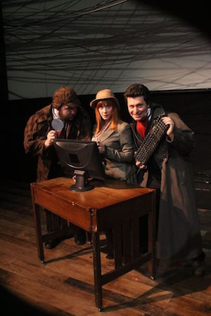 The (Curious Case of The) Watson Intelligence examines love and technology through a romantic trio over different time periods. Shown here are cast members (left to right), Wesley J. Colford, Hilary Scott, and Nick Porteous - photo by Jessica Hardy/HAT