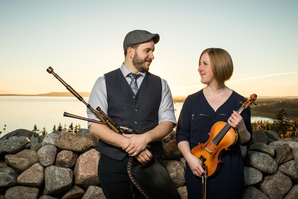 Piper Ben Miller and fiddler Anita MacDonald will be keeping crowds entertained Tuesday morning at the Celtic Colours Box Office on Nepean Street in Sydney - photo: Celtic Colours