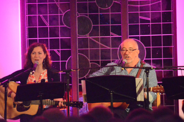 Catherine MacLellan and James Keelaghan singing songs from scratch during 2017 Celtic Colours International Festival - photo: Steve Edge