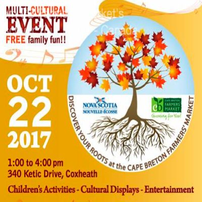 Discover Your Roots, Canada 150 Celebration - CB Farmers' Market - Sydney River