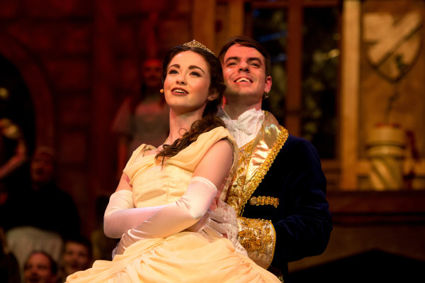 Actors as Belle and the prince